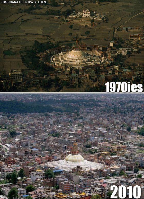 Boudha Stupa 1970s and 2010