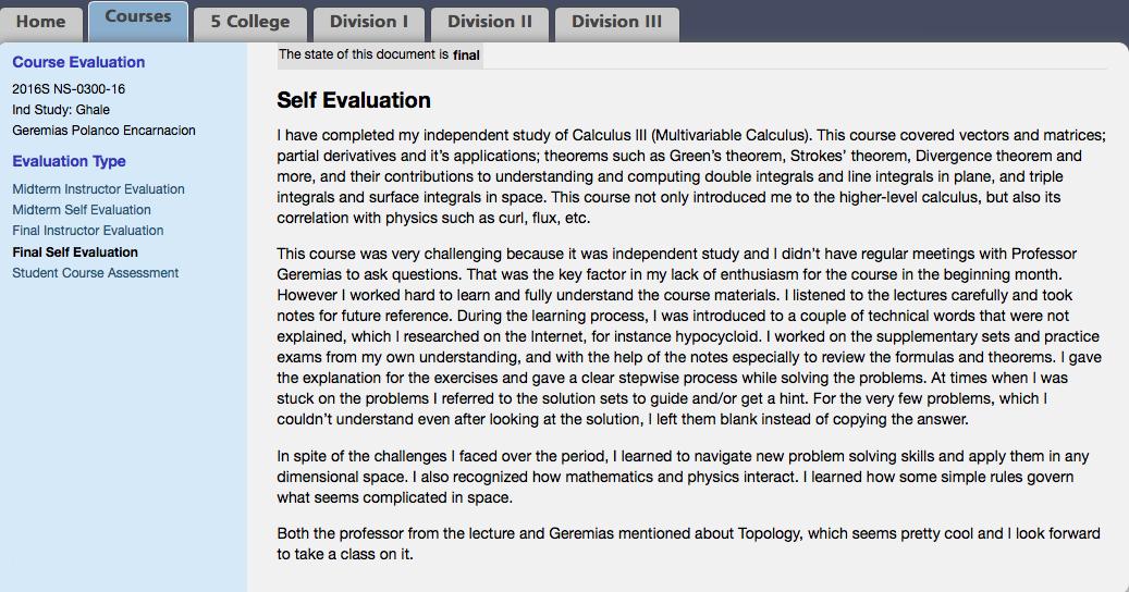 Calc III Self Eval