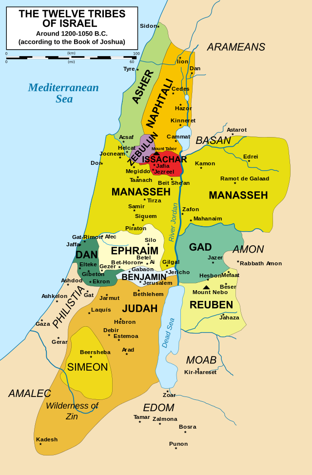 Israel 12 Tribes Map