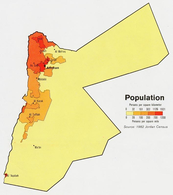 Jordan Population Map