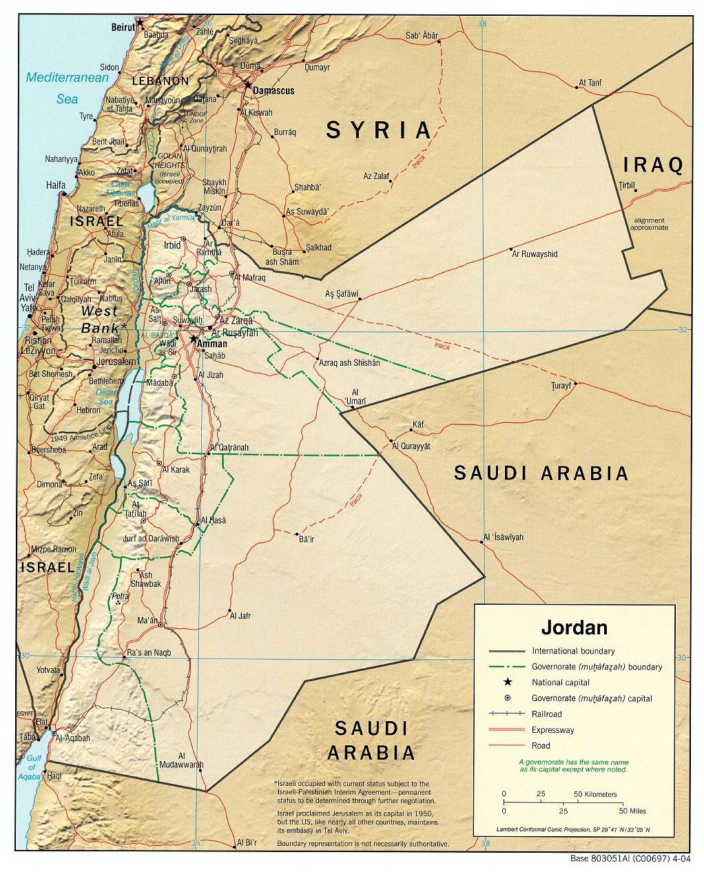 Jordan Relief Map