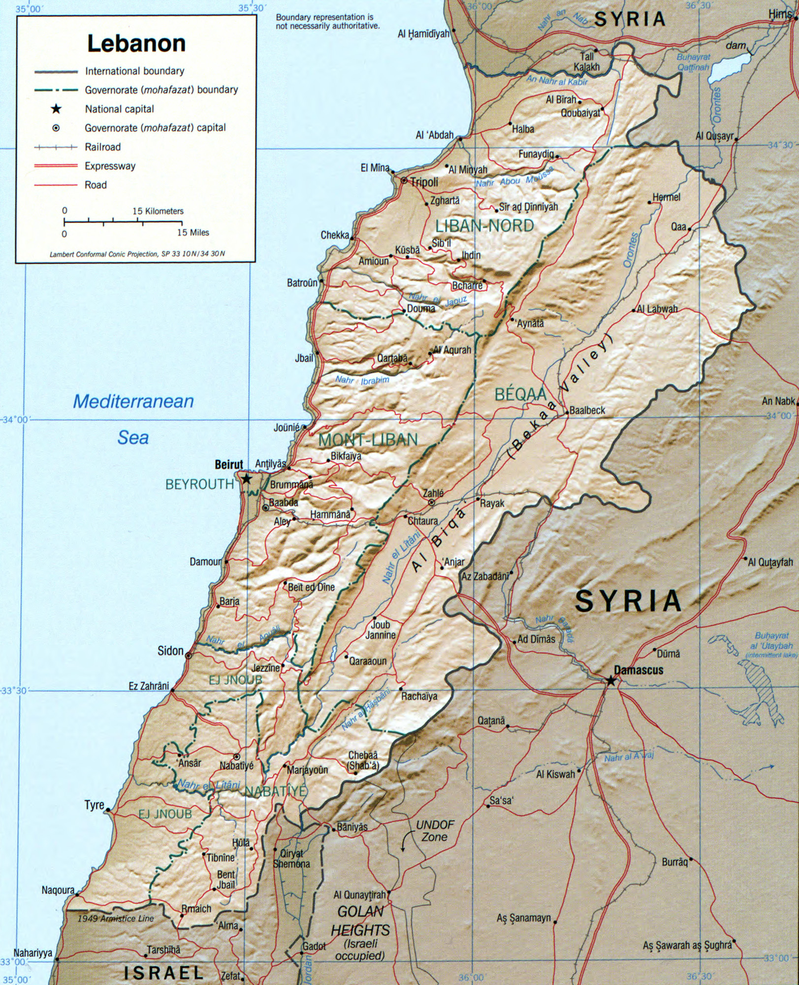 Lebanon Detail Map