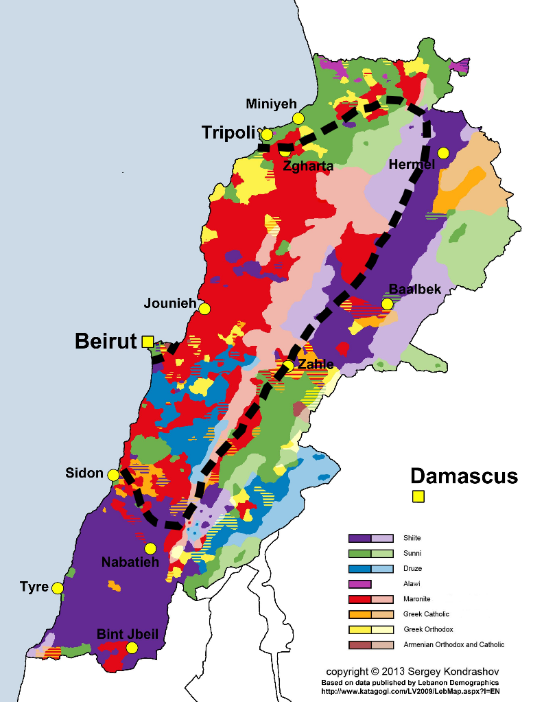 Lebanon Religion Map