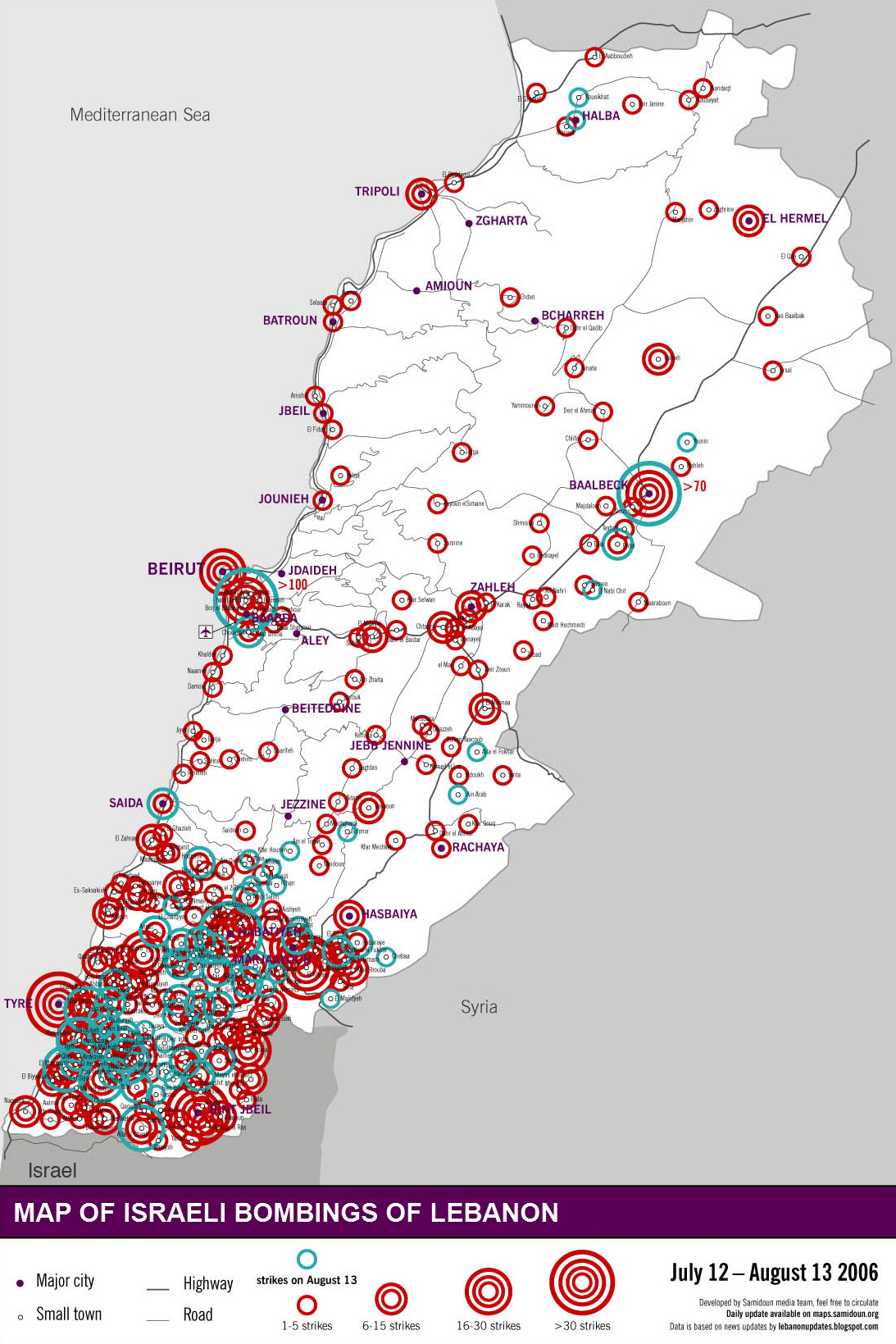 Lebanon locations bombed 2006